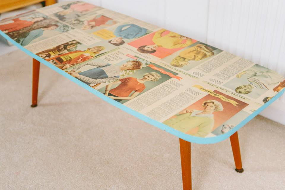 1950's coffee table re-made with knitting patterns.