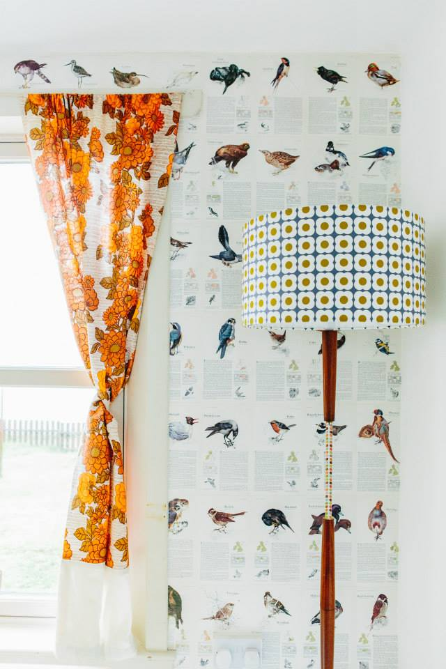 Barkcloth curtains and retro standard lamp re-made with wrapping paper and a duvet cover