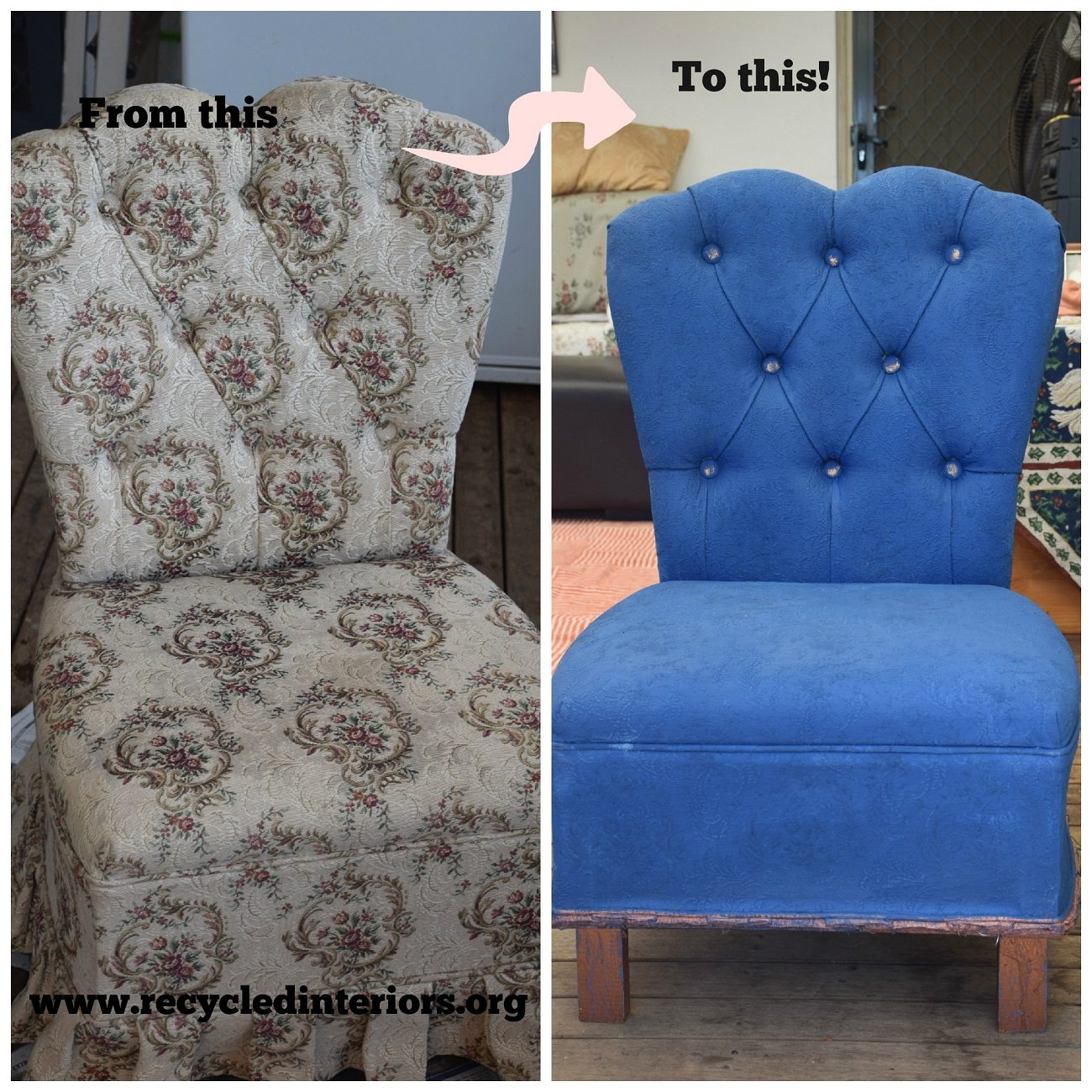 how to take an old upholstered chair and paint it with chalk paint! A simple process of paint, sand and wax - with no need to change the fabric! Step by Step tutorial