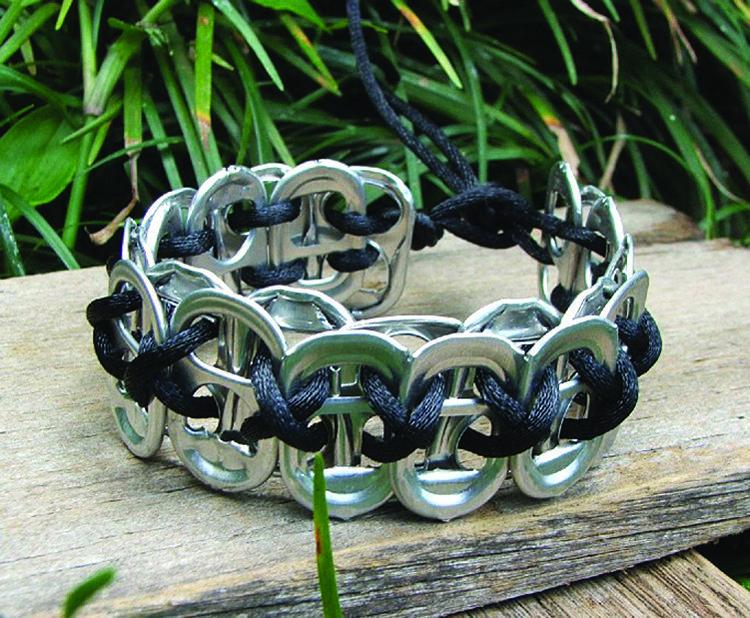 Upcycled bracelet using soft drink pulls - Copyright Anita Baills Retrash