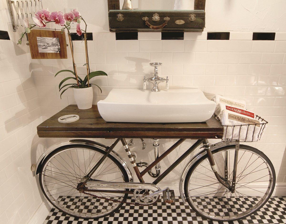 Bike upcycled into a bathroom shelf and sink! Copyright Benjamin Bullins Retrash 2