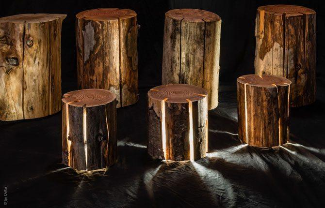 Duncan Meerding Cracked Log Lamps