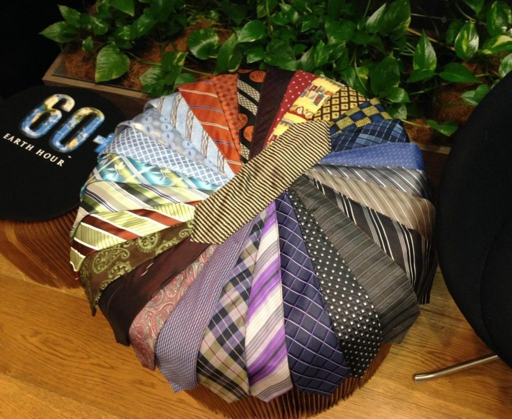 how to make an upcycled tie ottoman