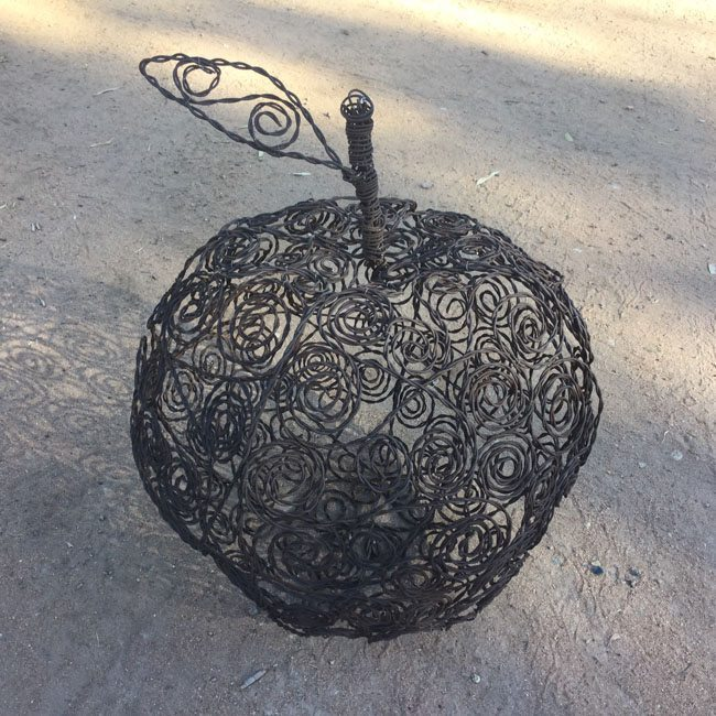 upcycled garden art from barbed wire