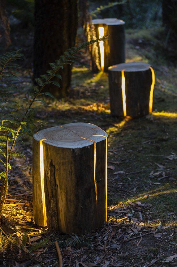 STUMP- The Cracked Log Lamp/Table/Stool by Duncan Meerding