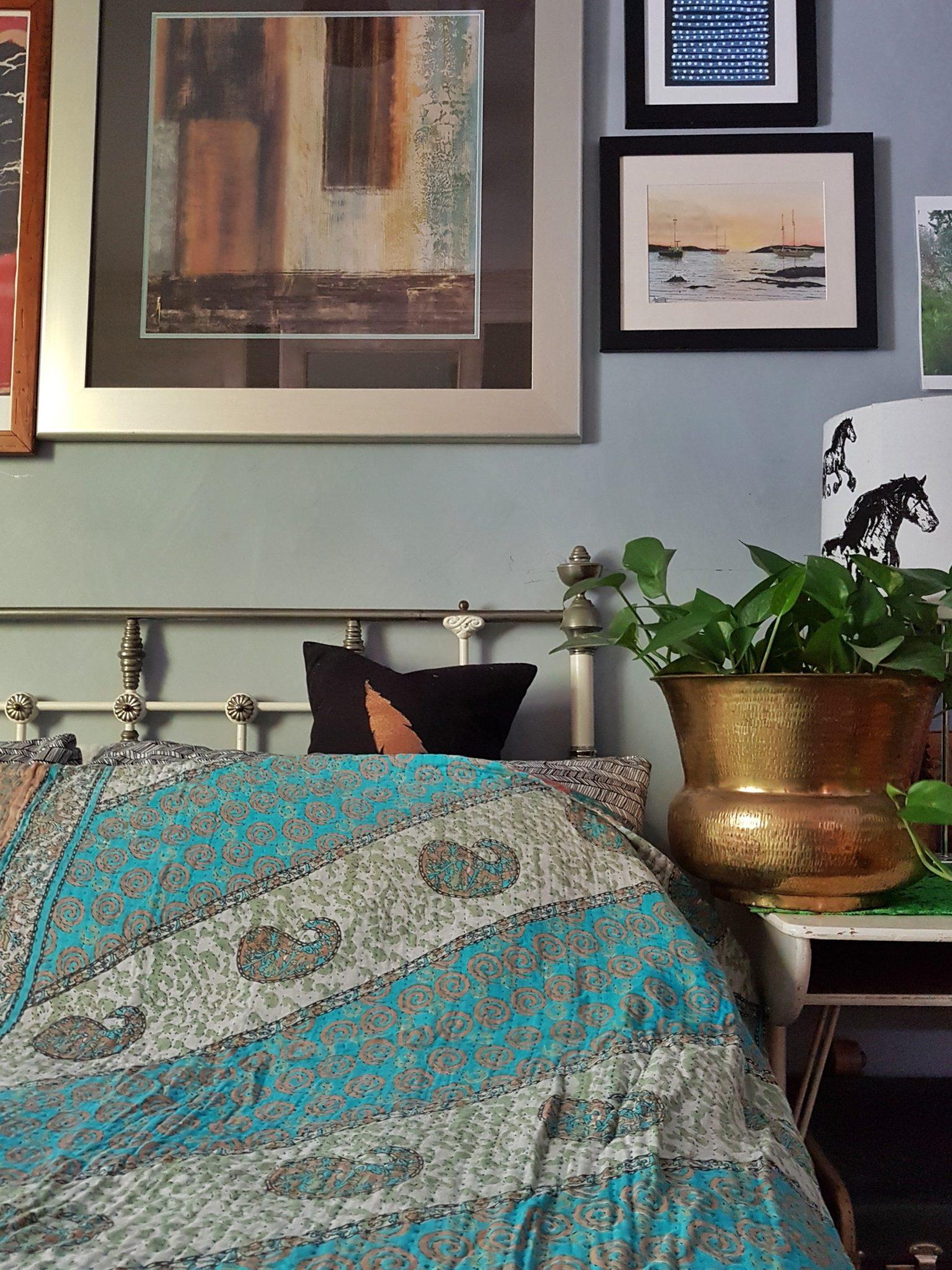 Vintage Blue & Dusty Pink Kantha Quilt/Throw - Queen
