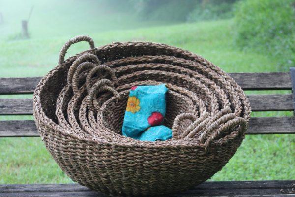 Set of 6 decor storage  baskets: handwoven sustainable hogla leaf