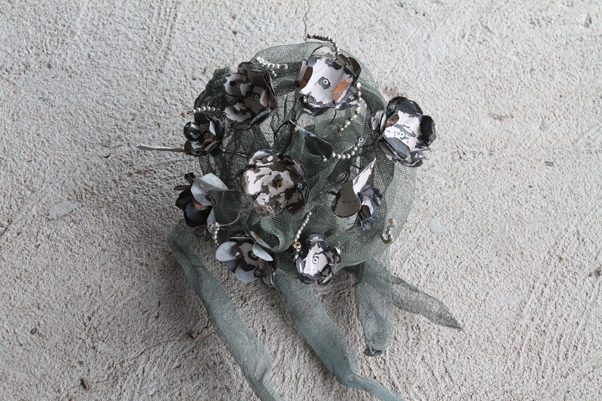 upcycled bouquet sculpture