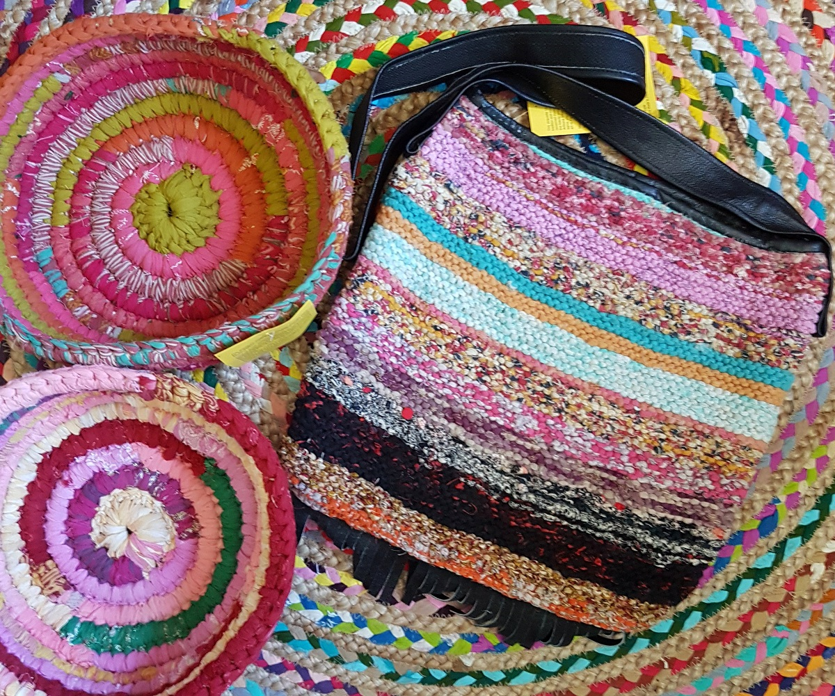 upcycled sari bag and bowls for plastic alternatives