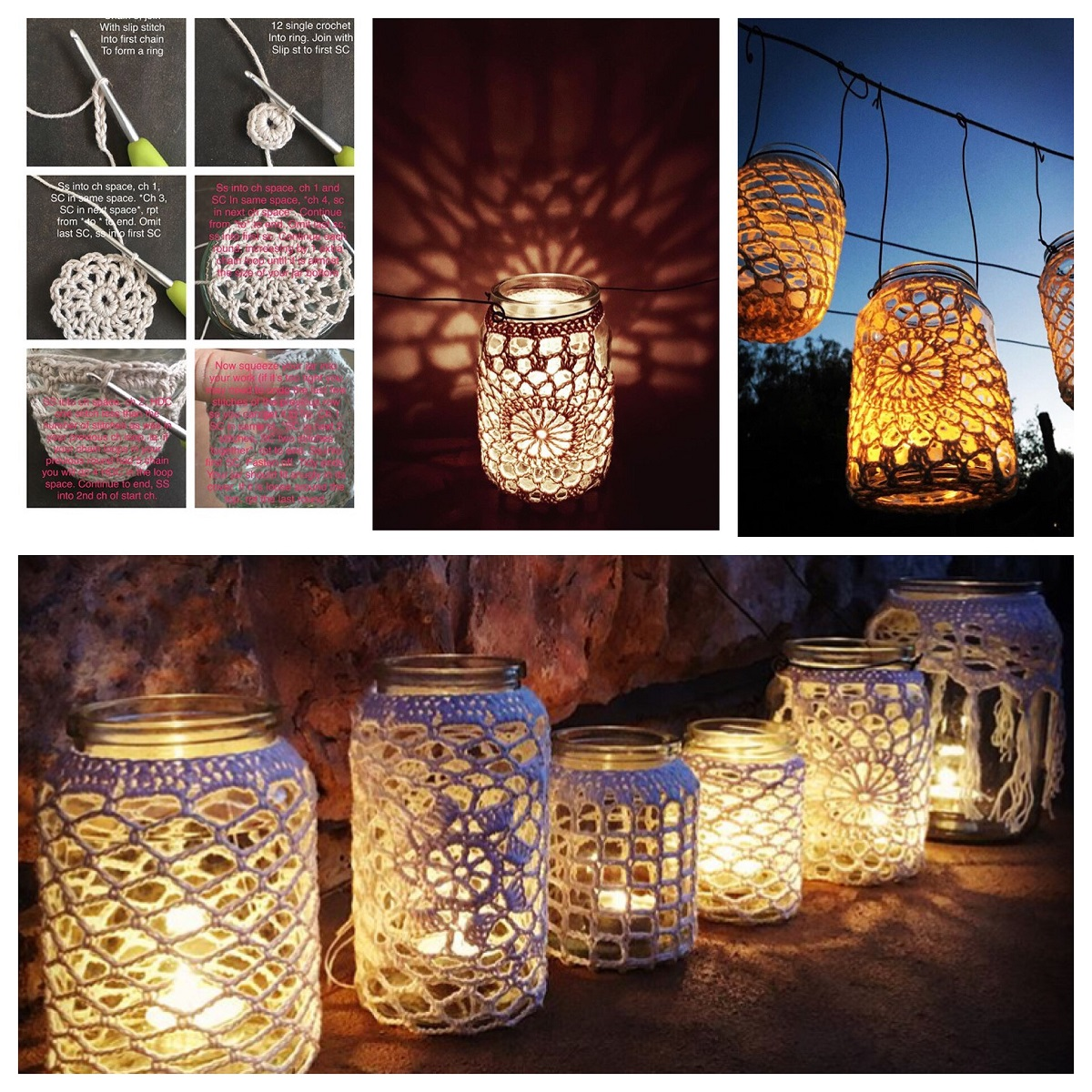 How to create your own crochet lantern cover - how to crochet a tealight lantern cover, step by step tutorial - advanced beginner level