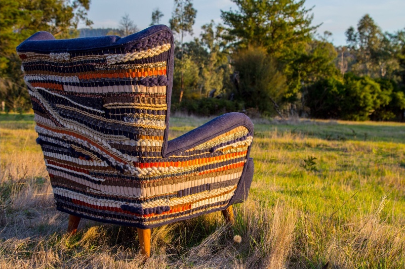 upholstered chair using recycled fabrics