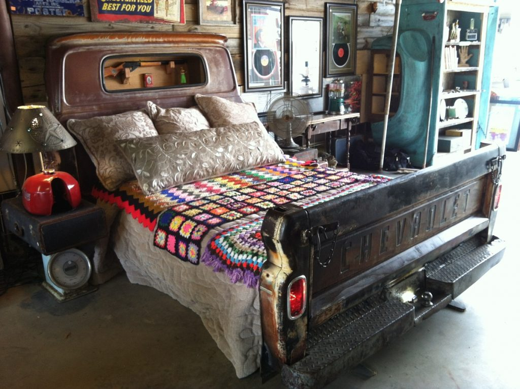 old truck upcycled into a car bed - Perry Hudson Attachments 3:32 AM (4 hours ago) to me Ever since I started building these truck beds I wanted them to look like what I remembered going down the road as a kid. I build a cabinet that goes in rear window with a gun rack , later on I started putting a mirror in it as well to give it depth and put off more light reflection from the dome reading light I put in. The tailgates are functional and there's faux dual exhaust . Bed rails bolt right up to head and footboard for queen or king. Last but not least the LED lights can be operated by either a manual dimmer switch or a wireless key fob on a novelty key chain which is a detail customers love.