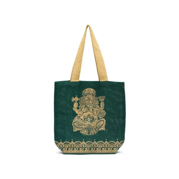 plastic free shopping with our fair trade metalic ganesha jute tote bag