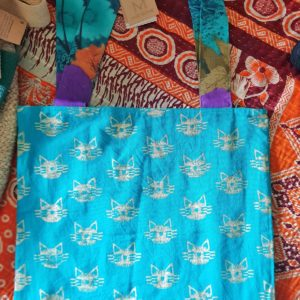recycled sari and canvas tote bag with pretty cat block print