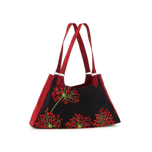fair trade handmade artisan silk red blossom bag Australian online store