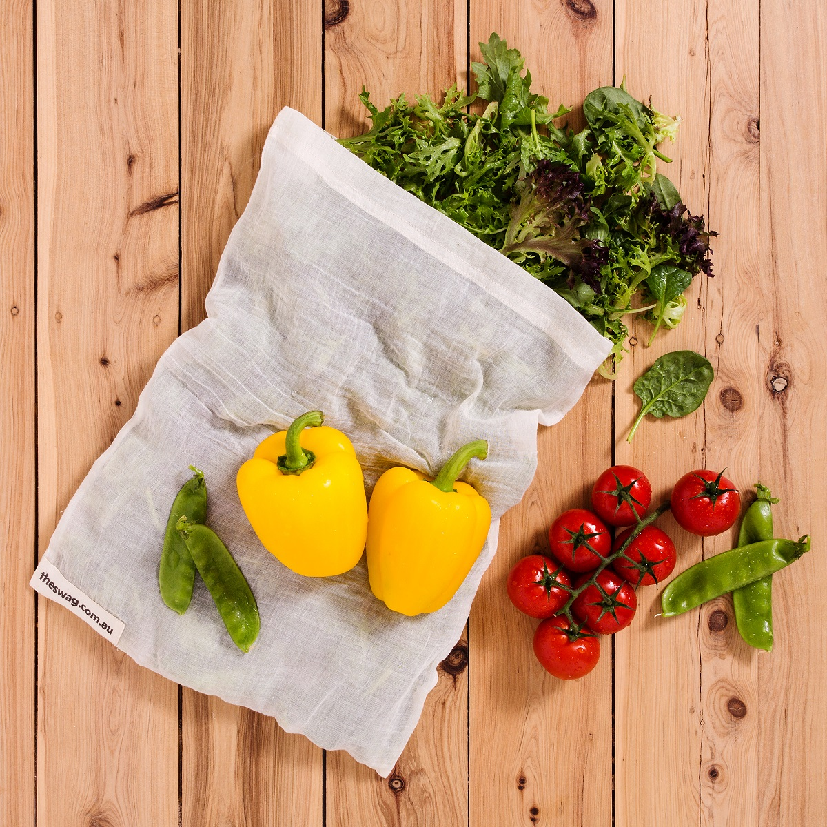 Swag reusable produce bag for your fruit and vegetables - ditch the soft clingy plastic bags and go plastic free!
