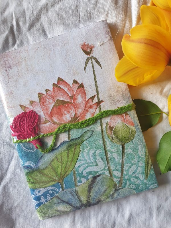 fair trade recycled cotton journal Saraswati Lotus