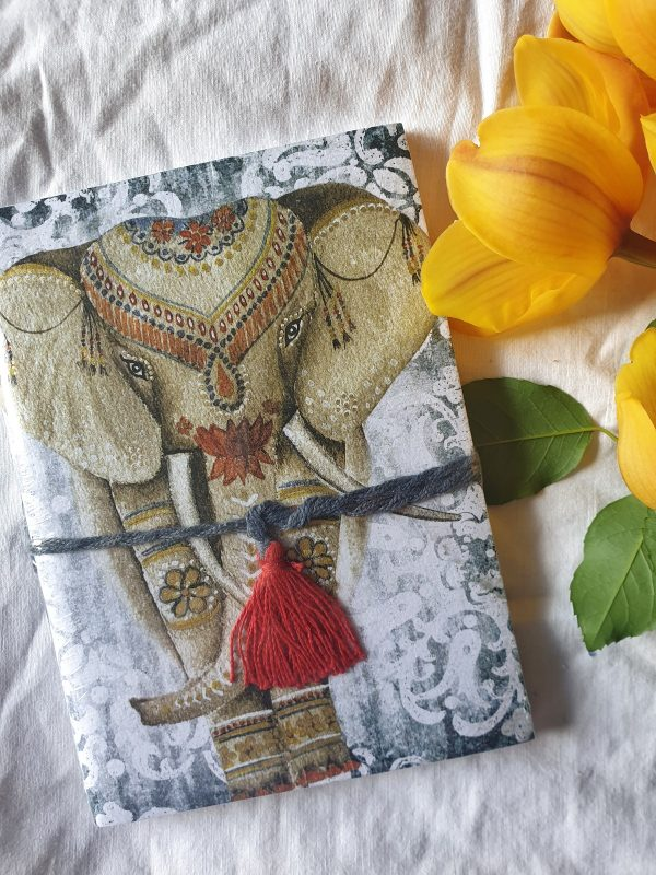 fair trade recycled cotton journal Saraswati Elephant